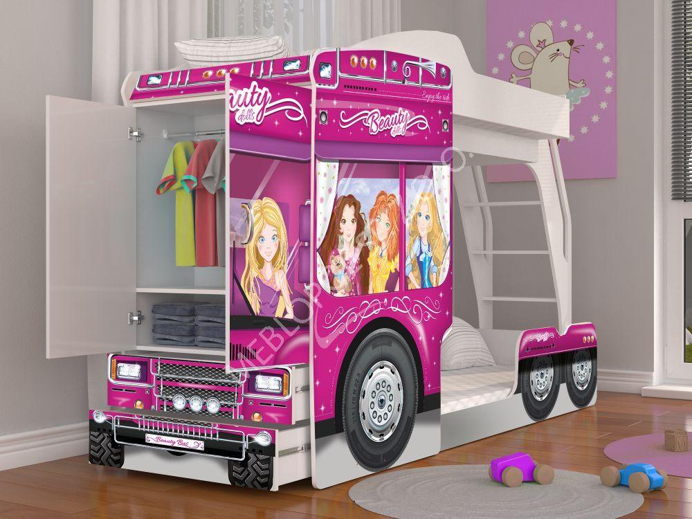 łóżko Piętrowe Auto Barbie Szafa Komoda