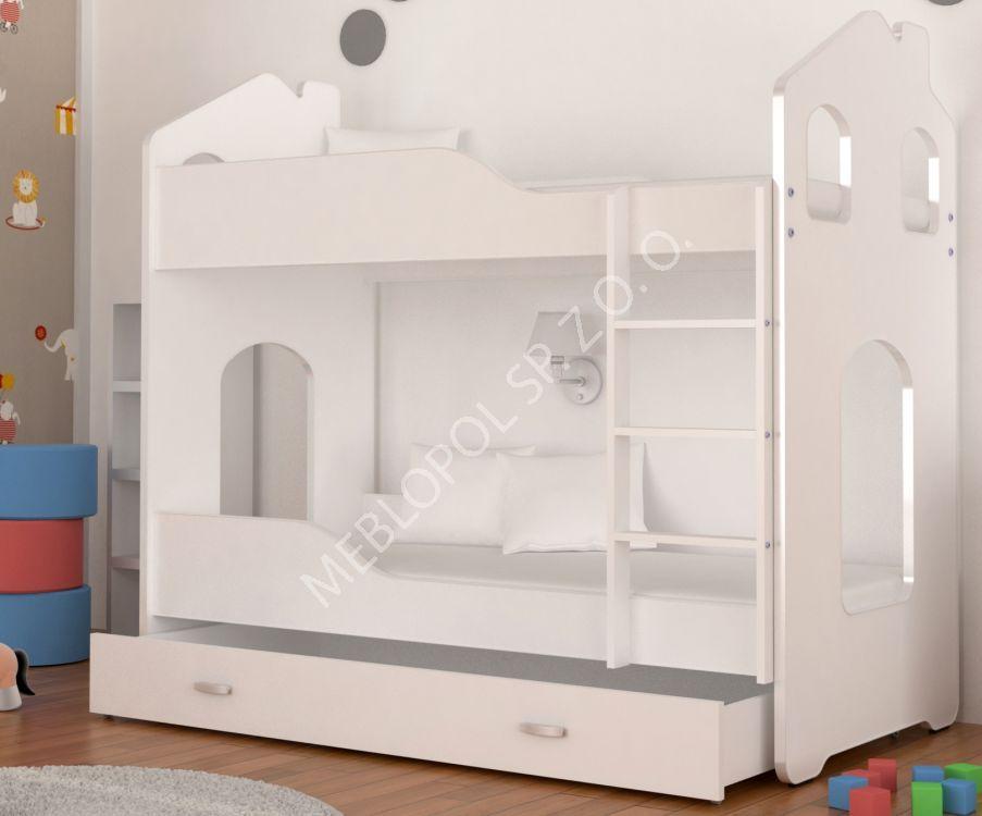 łóżko Piętrowe Domek Denis 160 Biały