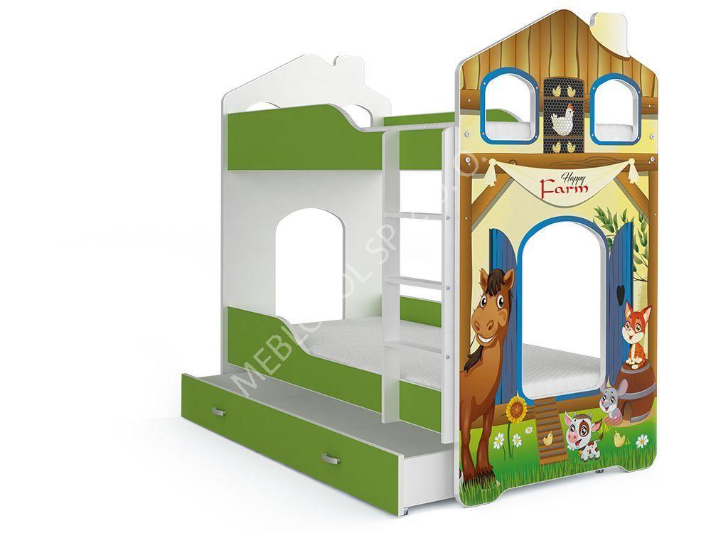 łóżko Piętrowe Domek Denis 160 Farma